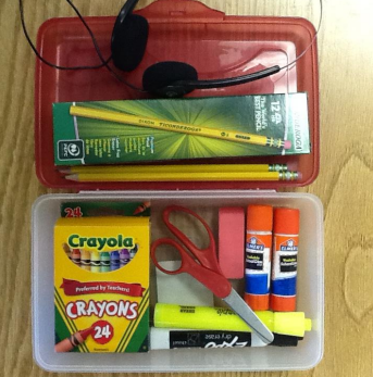 pencil box with neatly organized school supplies